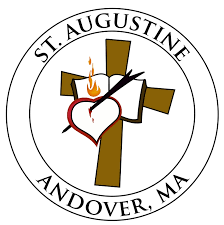 St. Augustine, Andover, MA with cross, bible, and Christian bleeding heart symbols