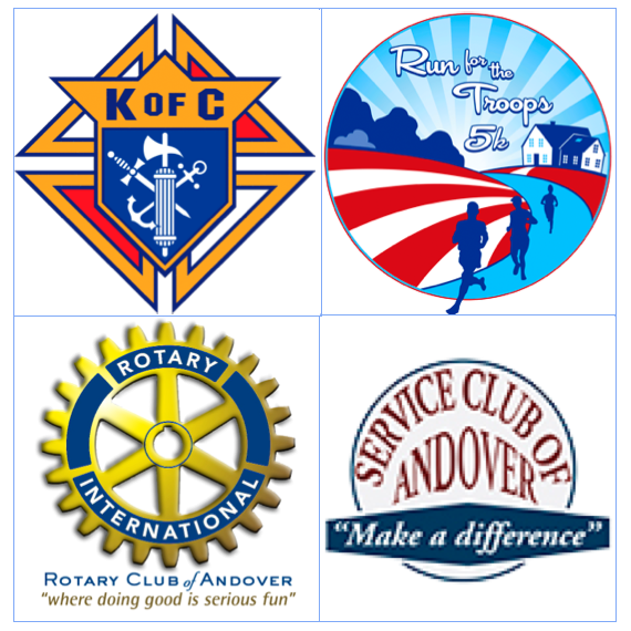 KofC, Rotary International, Service Club of Andover, and Run for the Troops 5k logos