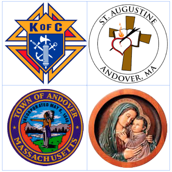KofC, Church of St. Augustine, and Town of Andover logos, picture of Mary and baby Jesus