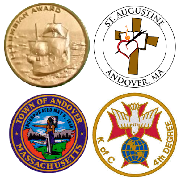 Logos of the Colombian award, church of St. Augustine, town of Andover, MA, and a 4th degree Knight of Columbus