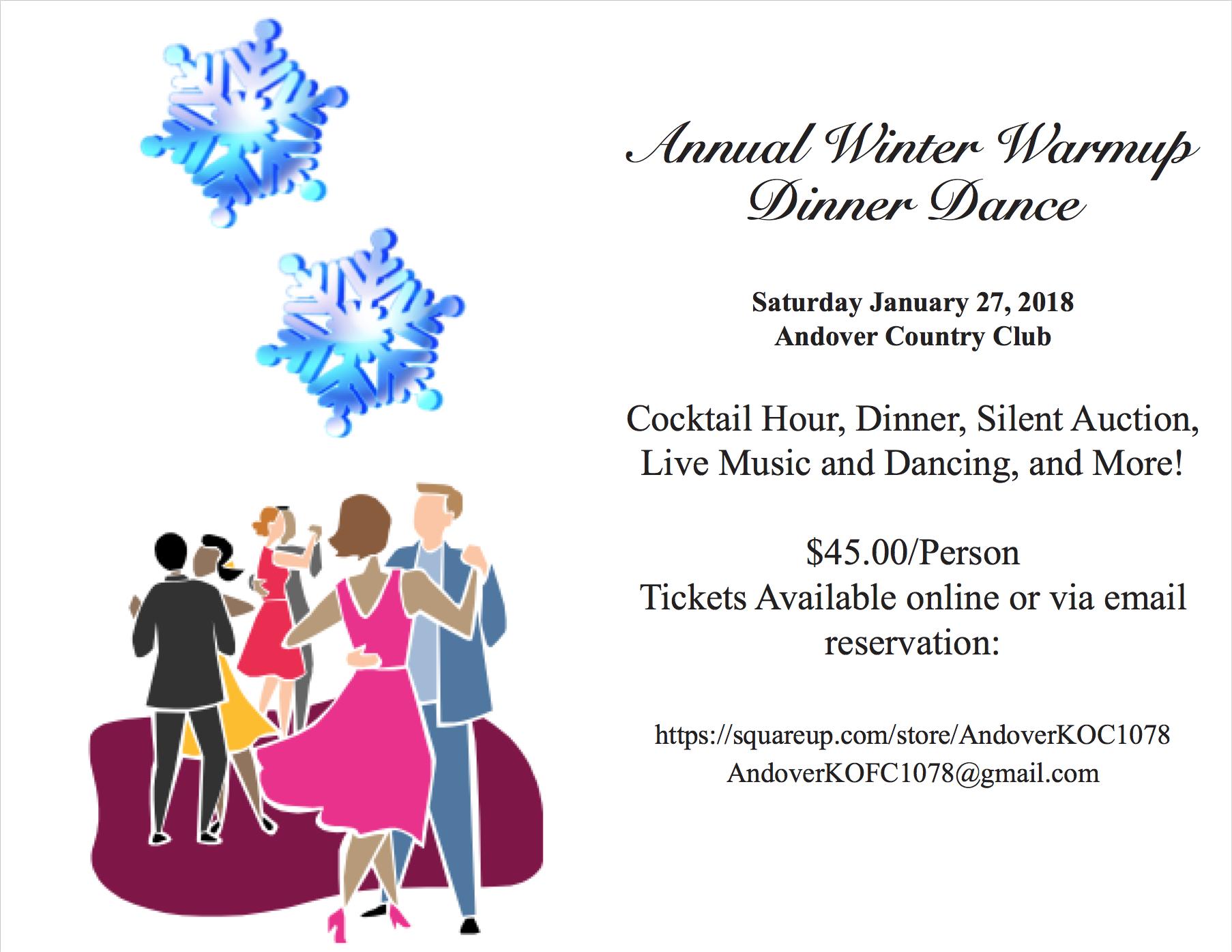 Annual Winter Warmup, Saturday, January 27, 2018, 6:00pm